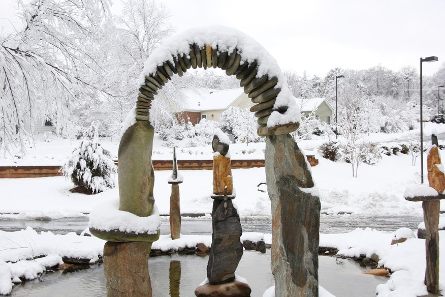 Wellness Rock Sculpture in Winter